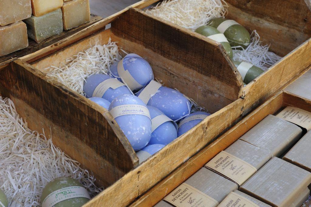Soap for sale in Roussillon market, Vaucluse, Provence-Alpes-Cote d'Azur, France.