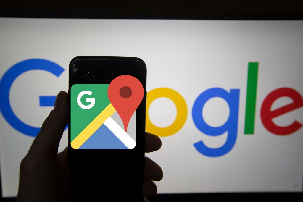 The logo of Google Maps is seen on a screen. In the background there is the logo of Google. Alphabet is the mother company of Google. It has a revenue of 117 billion dollars. (Photo by Alexander Pohl/NurPhoto via Getty Images)