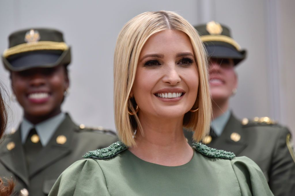 BOGOTA, COLOMBIA - SEPTEMBER 03: Advisor to the US President Ivanka Trump smiles during a meeting with female police cadets at General Santander National Police Academy on September 03, 2019 in Bogota, Colombia. (Photo by Guillermo Legaria Schweizer/Getty Images)