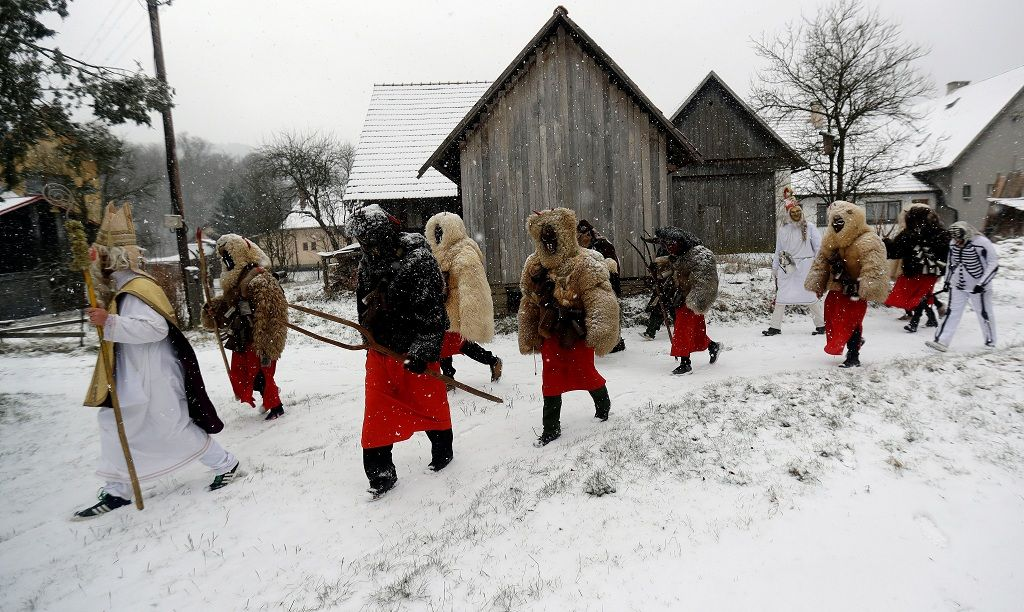 Revellers dressed as devils walk through the village of Valasska Polanka during a traditional Saint Nicholas parade near the town of Vsetin, Czech Republic, December 7, 2019. REUTERS/David W Cerny