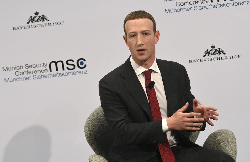 The founder and CEO of Facebook Mark Zuckerberg speaks during the 56th Munich Security Conference (MSC) in Munich, southern Germany, on February 15, 2020. - The 2020 edition of the Munich Security Conference (MSC) takes place from February 14 to 16, 2020. (Photo by Christof STACHE / AFP)