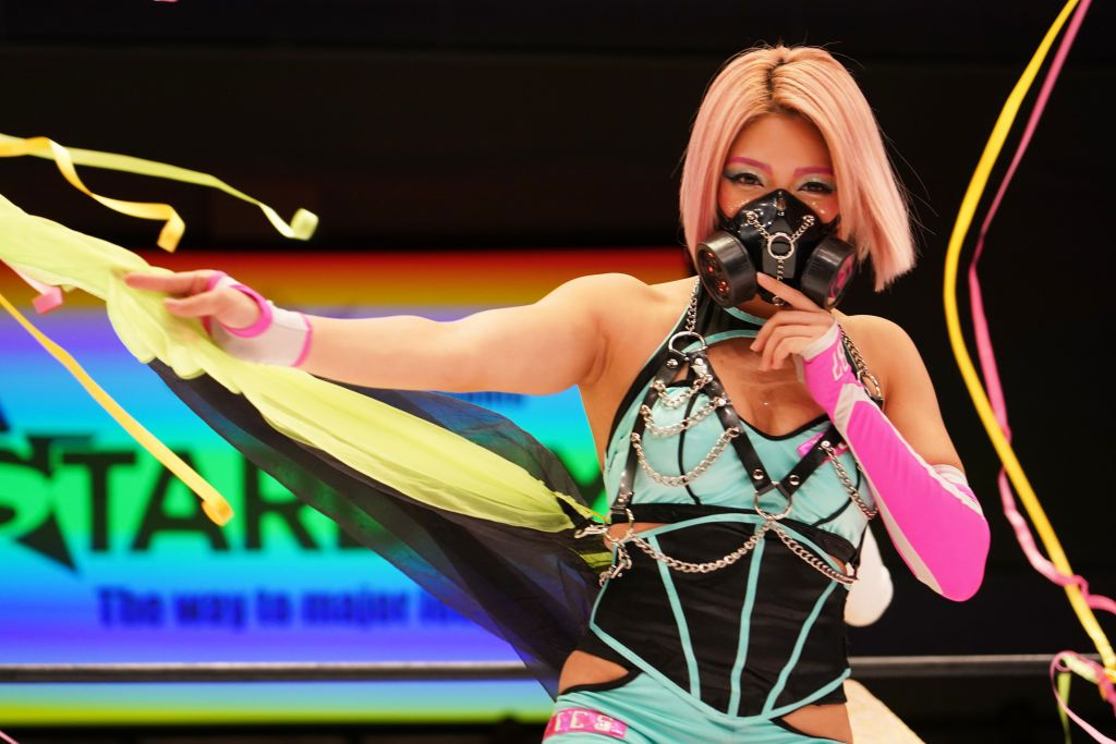 TOKYO, JAPAN - FEBRUARY 08: Hana Kimura enters the ring during the Women's Pro-Wrestling 'Stardom' at Korakuen Hall on February 08, 2020 in Tokyo, Japan....</p>                     </div>                     <div class=