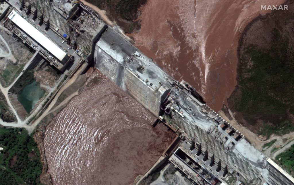A handout satellite image shows a closeup view of the Grand Ethiopian Renaissance Dam (GERD) and the Blue Nile River in Ethiopia June 26, 2020. Satellite image ©2020 Maxar Technologies via REUTERS ATTENTION EDITORS - THIS IMAGE HAS BEEN SUPPLIED BY A THIRD PARTY. MANDATORY CREDIT. NO RESALES. NO ARCHIVES. MUST NOT OBSCURE WATERMARK