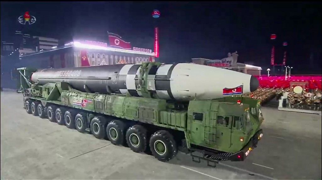 "A screen grab taken from a KCNA broadcast on October 10, 2020 shows what appears to be a new North Korean intercontinental ballistic missile during a military parade marking the 75th anniversary of the founding of the Workers' Party of Korea, on Kim Il Sung square in Pyongyang. - Nuclear-armed North Korea held a giant military parade, television images showed, with thousands of maskless troops defying the coronavirus threat and Pyongyang expected to put on show its latest and most advanced weapons. (Photo by - / KCNA / AFP) / - South Korea OUT / REPUBLIC OF KOREA OUT ---EDITORS NOTE--- RESTRICTED TO EDITORIAL USE - MANDATORY CREDIT ""AFP PHOTO/KCNA"" - NO MARKETING NO ADVERTISING CAMPAIGNS - DISTRIBUTED AS A SERVICE TO CLIENTS THIS PICTURE WAS MADE AVAILABLE BY A THIRD PARTY. AFP CAN NOT INDEPENDENTLY VERIFY THE AUTHENTICITY, LOCATION, DATE AND CONTENT OF THIS IMAGE. / The erroneous mention appearing in the metadata of this photo by - has been modified in AFP systems in the following manner: [a new North Korean intercontinental ballistic missile] instead of [North Korean Hwasong-15 intercontinental ballistic missiles]. Please immediately remove the erroneous mention from all your online services and delete it from your servers. If you have been authorized by AFP to distribute it to third parties, please ensure that the same actions are carried out by them. Failure to promptly comply with these instructions will entail liability on your part for any continued or post notification usage. Therefore we thank you very much for all your attention and prompt action. We are sorry for the inconvenience this notification may cause and remain at your disposal for any further information you may require."