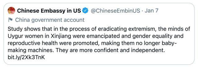 استمرار ردود الأفعال الدولية المنددة بتغريدة صينية حول برامج التعقيم القسري لمسلمي الإيغور
