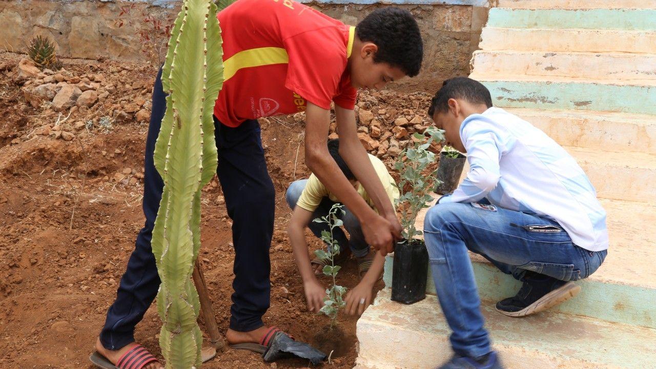 أطفال يزرعون شتلات ضمن نشاط البستنة