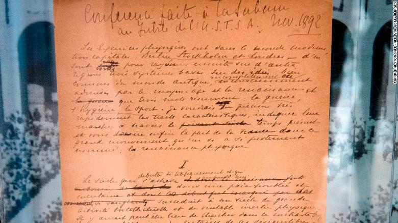 البيان الأصلي للألعاب الأولمبية في 1892 بقلم بيير دي كوبيرتان – المعرض العام في سوثبيز في كاليفورنيا