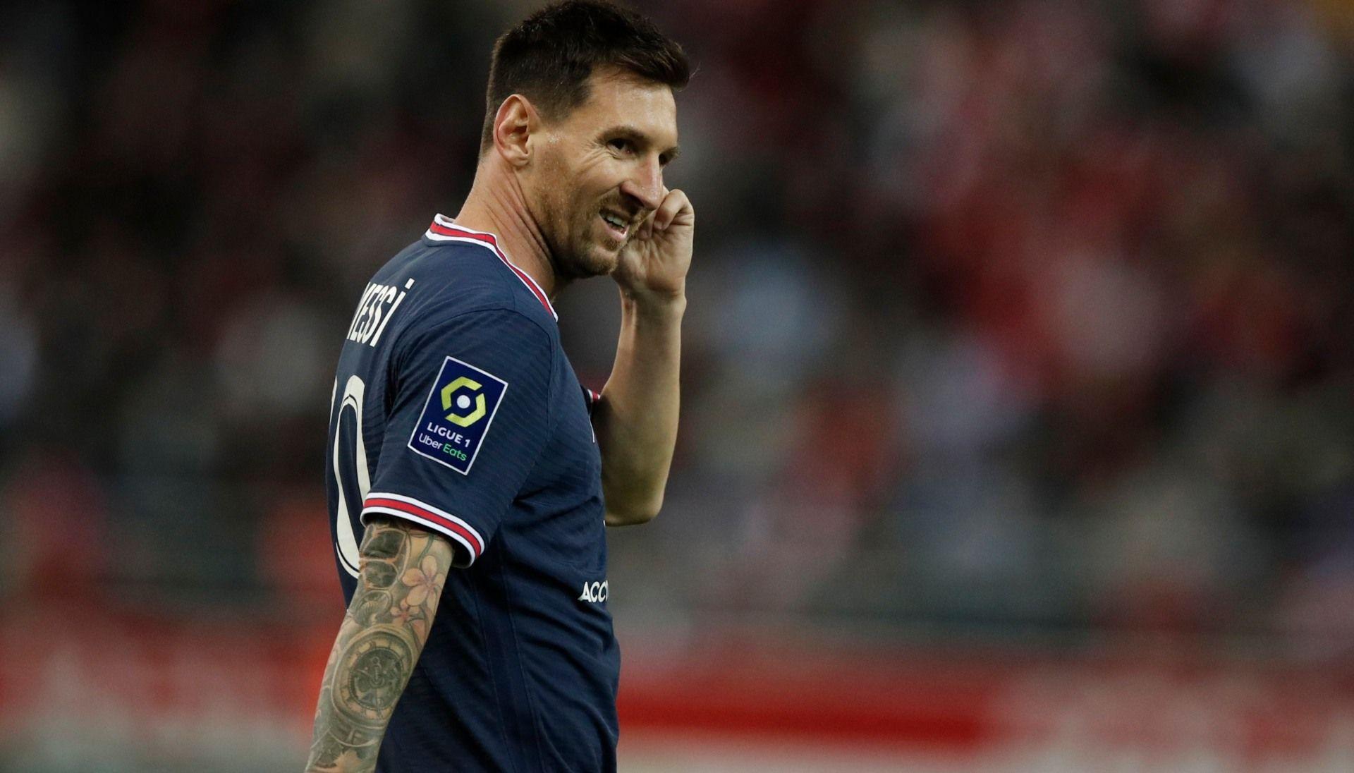 ليونيل ميسي في أول مباراة له مع فريقه الجديد باريس سان جيرمان. المصدر: رويترز